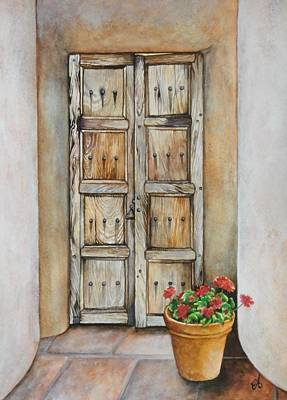 Old Panelled Door Painting - Doorway To Santa Fe by Carrie Auwaerter