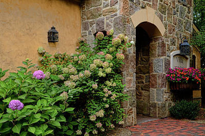 Photograph - Doorway With Flowers by Ann Bridges