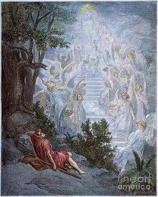 Drawing - Jacobs Dream by Gustave Dore