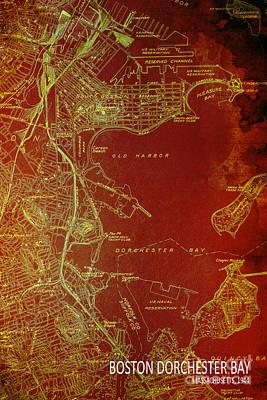Old Map Digital Art - Dorchester Bay Old Map by Pablo Franchi