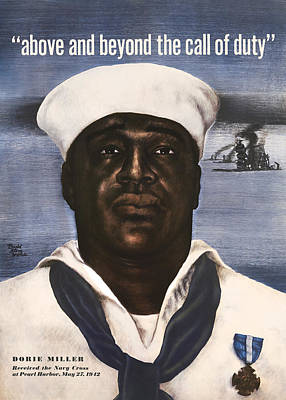 African American Art Painting - Dorie Miller - Above And Beyond - Ww2 by War Is Hell Store