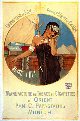 Mixed Media - D'orient Cigarettes And Tobacco - Munich, Germany - Vintage Advertising Poster by Studio Grafiikka