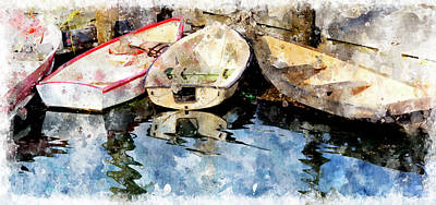Digital Art - Dories At Lubec Pier Wc by Peter J Sucy