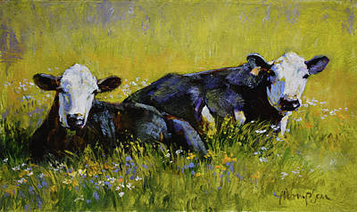 Dairy Cows Painting - Doris And Mabel by Tracie Thompson