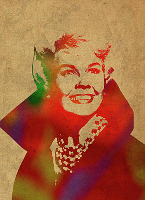 Doris Day Watercolor Portrait Art Print
