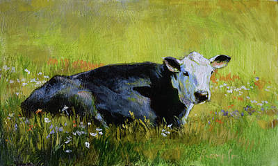 Dairy Cows Painting - Doris Takes A Break by Tracie Thompson
