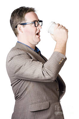Dork Man Consuming Hot Drink In Haste. Coffee Rush Art Print