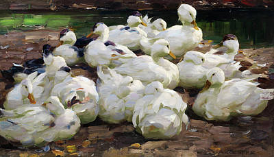 Swans... Painting - Dormant Duck Family On The Banks by Alexander Max Koester