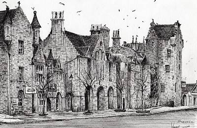 Pen And Ink Historic Buildings Drawings Drawing - Dornoch by Vincent Alexander Booth