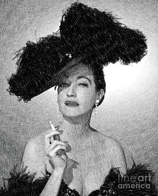 Musicians Drawings - Dorothy Lamour, Vintage Actress by JS by Esoterica Art Agency