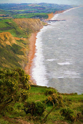 World Heritage Site Digital Art - Dorset Coast View Towards West Bay And Chesil Beach England Uk Illustration Like Oil Painting by Michael Charles