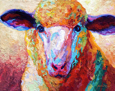 Llama Painting - Dorset Ewe by Marion Rose