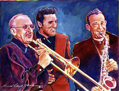 Trombone Painting - Dorsey Brothers Meet Elvis by David Lloyd Glover