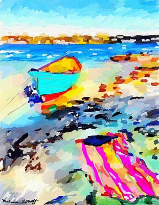 Painting - Dory And Beach Towel At Ten Pound Island, Gloucester, Ma by Melissa Abbott
