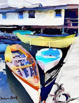 Dory Dock At Beacon Marine Basin - East Gloucester, Ma Art Print