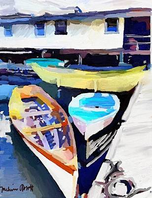 Yellow Painting - Dory Dock At Beacon Marine Basin by Melissa Abbott