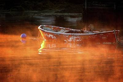 Photograph - Dory In Orange Mist by Bill Linn