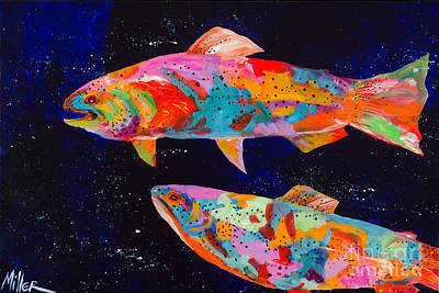 Trout Painting - Dos Brown Trout by Tracy Miller