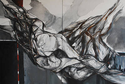 Abstracted Figuration Painting - Dos Figuras by Mirjana Lucic