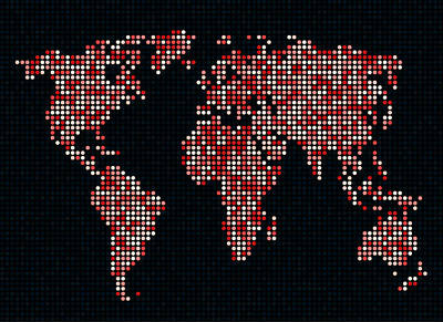 Dot Map Of The World - Red Art Print by Michael Tompsett