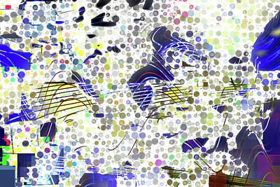 Awesome Digital Art - Dotted Colorful Wavelength by Marco De Mooy