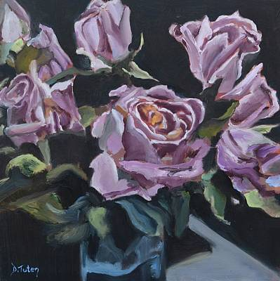 Painting - Dottie's Purple Rose Bouquet by Donna Tuten