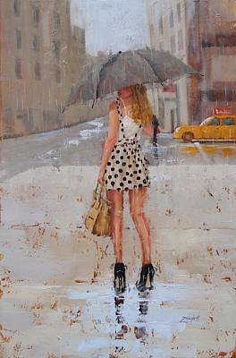Umbrellas Painting - Dottie by Laura Lee Zanghetti