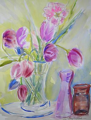 Glass Vase Mixed Media - Dotty's Tulips by Nancy Brennand