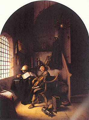 Digital Art - Dou An Interior With A Young Violinist by Gerrit Dou
