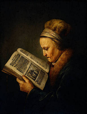 Digital Art - Dou Gerard Old Woman Reading A Lectionary by Gerrit Dou