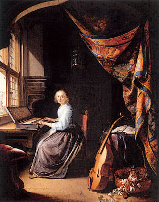 Digital Art - Dou Gerrit A Woman Playing A Clavichord by Gerrit Dou