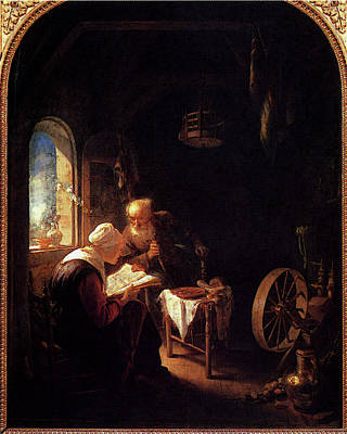 Digital Art - Dou Gerrit The Bible Lesson Or Anne And Thomas by Gerrit Dou