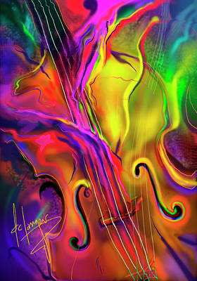 Painting - Double Bass Solo by DC Langer