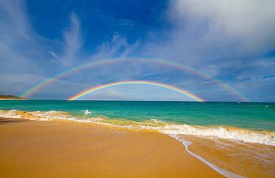 Cargo Boats - Double Beach Rainbow of Maui by Angelina Hills