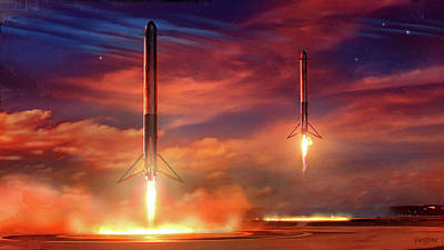 Digital Art - Double Booster Landing Space-x by James Vaughan