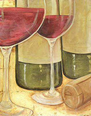 Wine Mixed Media - Double Date I by Maria Boudreaux
