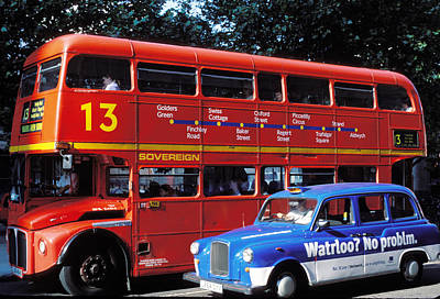 Photograph - Double Decker Bus In Central London by Carl Purcell