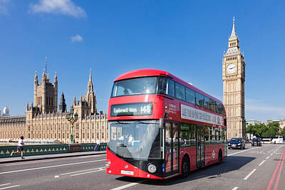 Bus Photograph - Double-decker Bus Moving On Westminster by Panoramic Images
