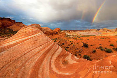 Double Rainbow Photograph - Double Desert Rainbow by Mike Dawson