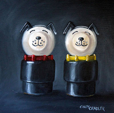 Double Dog Dare Art Print by Cindy Cradler