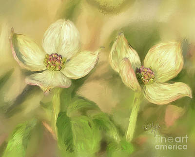 Art Print featuring the digital art Double Dogwood Blossoms In Evening Light by Lois Bryan