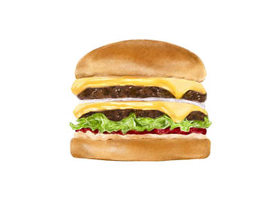 Hamburger Drawing - Double Double by Krischelle Nielsen