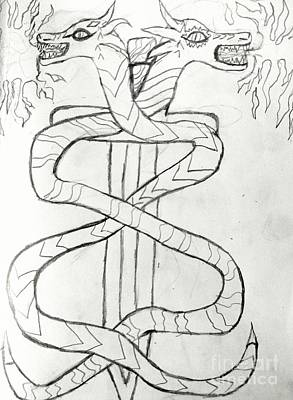 Reptiles Drawings - Double Dragon Snakes and Sword by Shylee Charlton