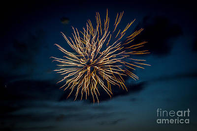 Purple Fireworks Photograph - Double Explosion by Robert Bales