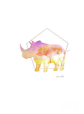 Geometric Giraffe Painting - Double Exposure African Rhino by Jasmine Mills