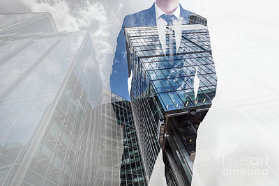 Wealthy Photograph - Double Exposure Of Businessman And Modern Skyscrapers. Business Leader, Career Concepts by Michal Bednarek
