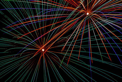 Photograph - Double Fireworks by Lonnie Paulson