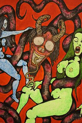 Trippy Painting - Double Girl Hypno-snake by Sam Hane