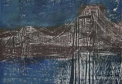 Printmaking Mixed Media - Double Golden Gate Bridge Blue And Brown Dry Point And Woodcut Print by Marina McLain