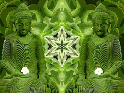 Digital Art - Double Green Buddhas by Diane Lynn Hix